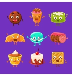 Happy Food Sweets And Sweet Pastry Cartoon vector