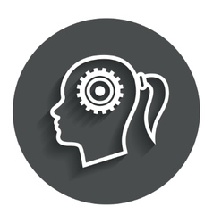 Head with gear sign icon Female woman head vector image