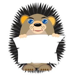 Hedgehog with clean sheet of paper in hand vector
