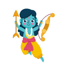 indian lord rama with arrow and bow cartoon vector image