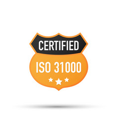 Iso 31000 certified badge icon vector