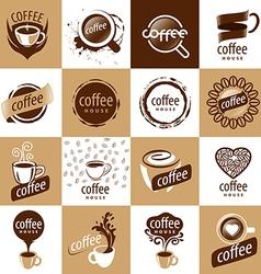 Large set logos coffee vector