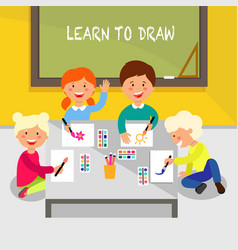 learn to draw flat vector image