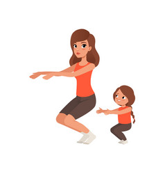 Little girl with her mother doing sit-ups morning vector