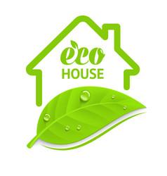 logo eco house vector image