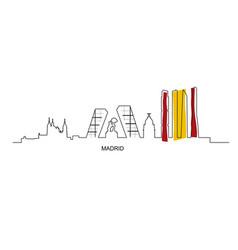 Madrid city landmarks with spain flag colors vector