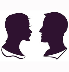 Man and female profile silhouette vector