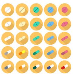 medicine pills flat icon set vector image