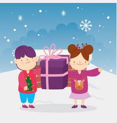 merry christmas little boy and girl with gift vector image
