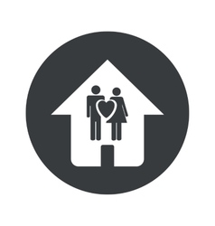 Monochrome round family house icon vector image