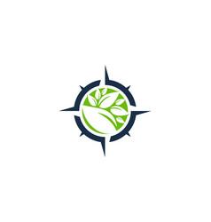 Nature compass logo icon design vector