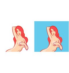 nude girl with slim figure isolated with white vector image