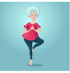 old lady yoga grandmother in asana position vector image