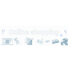 online shopping word on squared background vector image