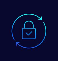 Password reset line icon on dark vector