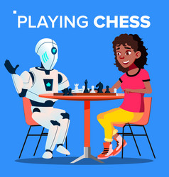 Robot playing chess with woman isolated vector