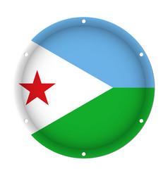 round metallic flag of djibouti with screw holes vector image