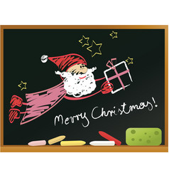 School blackboard with santa claus vector