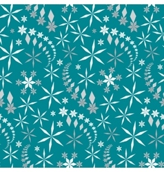 Seamless christmas pattern snowflakes crystals vector