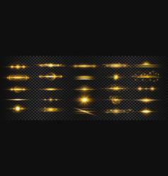 Set golden transparent light lens flares vector
