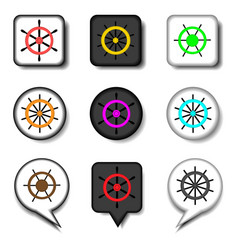 set symbols steering wheel from the ship for vector image