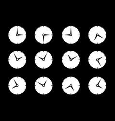 Set with different times og clock icons vector