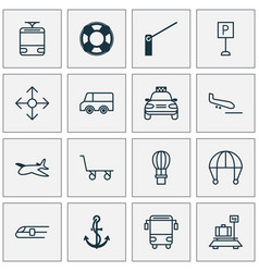 shipping icons set with school bus navigation vector image