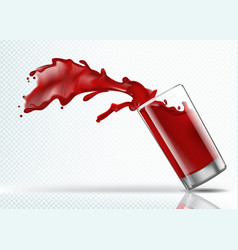 splash of strawberry juice from a falling glass vector image