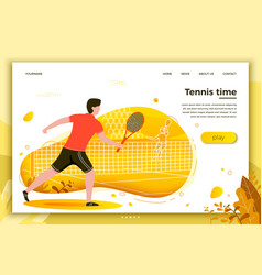 Sporty man playing tennis vector
