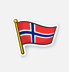 sticker flag norway on flagstaff vector image