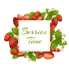 strawberry whole with leaves and flowers and vector image