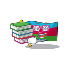 Student with book flag azerbaijan mascot cartoon vector