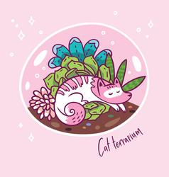 Succulent garden terrarium with cute kawaii cat vector