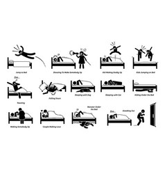 Things that people do on bed cliparts depict man vector