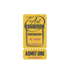 Ticket to classic art exhibition paper card vector