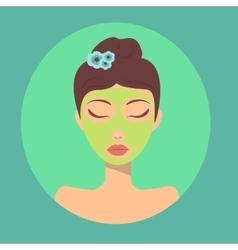 trendy girl portrait facial skin mask vector image