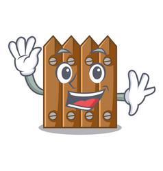 Waving character close up on wooden fence door vector