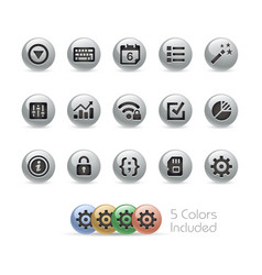 web and mobile icons 4 - metal round series vector image