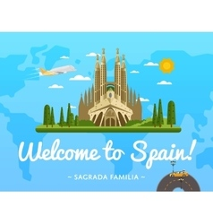 Welcome to Spain poster with famous attraction vector image
