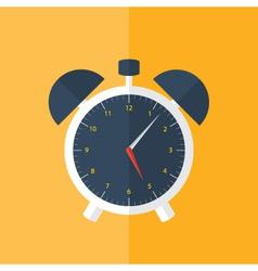 White alarm clock icon over orange vector image