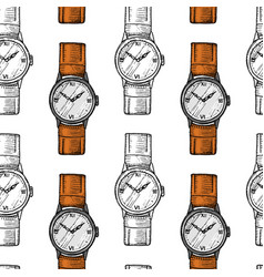 Wristwatch seamless pattern or wristlet watch vector