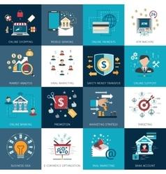 Banking marketing concept flat icons set vector image