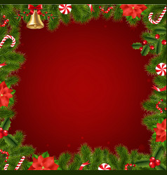 border fir tree branches with poinsettia vector image