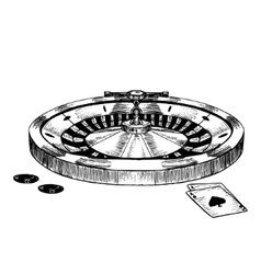 Casino Roulette Wheel Hand Draw Sketch vector image vector image