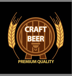 craft beer on barrel vector image vector image