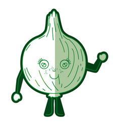 green silhouette of cartoon onion with half shadow vector image vector image