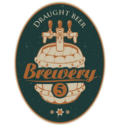 label or banner for the brewery with beer barrel vector image vector image