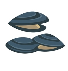mussel Fresh and tasty seafood icon vector image vector image