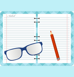 Notepad with folded glasses and red pencil vector