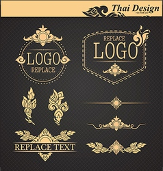 set thai art design elements vector image vector image
